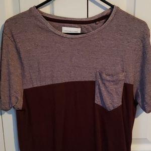 DENIM & FLOWER striped/solid maroon pocket tee - M